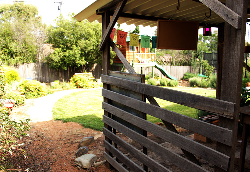 side of the mud kitchen