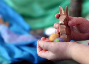 easter rabbit in little girls hand