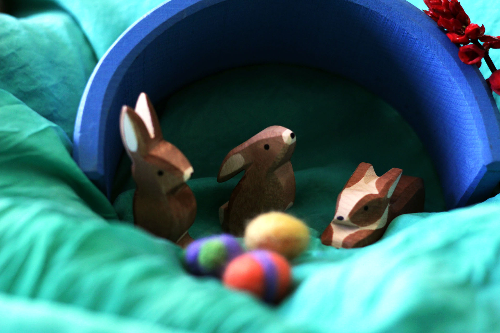 easter rabbits with their eggs