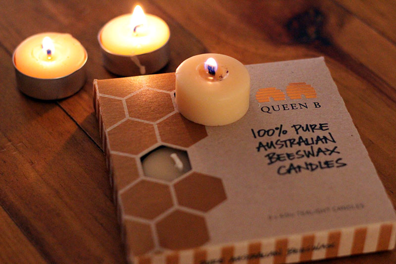 Queen B beeswax candle